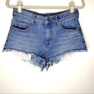 Kendall & Kylie High-Rise lace pocket cutoff short